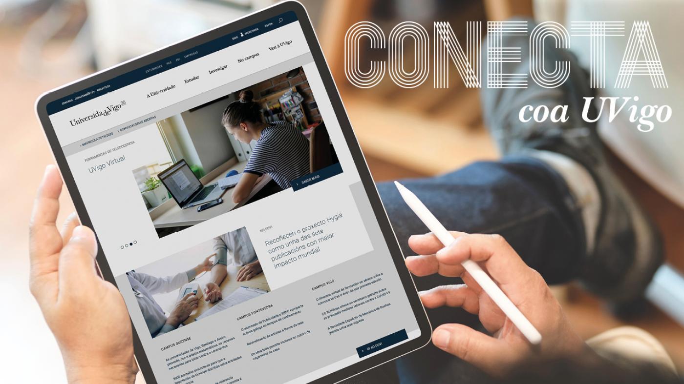 Imaxe dunha tablet conectada coa web da UVigo