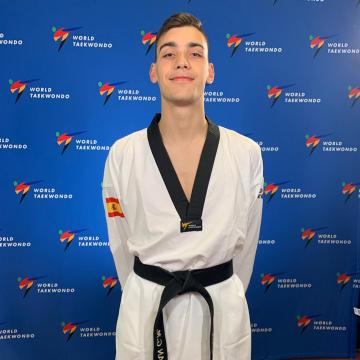 Un alumno do campus, no Campionato do Mundo de Taekwondo